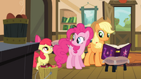 Pinkie Pie and Applejack listening to Apple Bloom S4E09