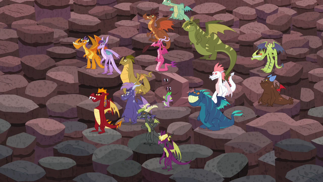 "File:Spike pushing the ""rock"" while in a crowd of dragons S6E5.png"