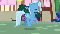 Trixie happily skipping through Ponyville S7E2
