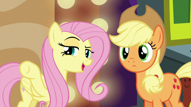 File:Fluttershy pointing at Flim and Flam S6E20.png