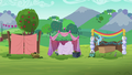 Applejack, Rarity, and Rainbow's cart stations S6E14.png
