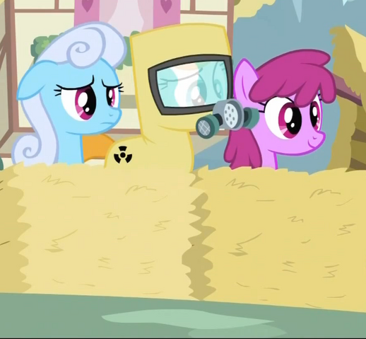 File:Shoeshine, Berryshine and a pony in a radiation suit 2 S2E6.png