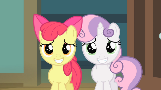 File:Apple Bloom and Sweetie Belle putting on a grin S4E05.png