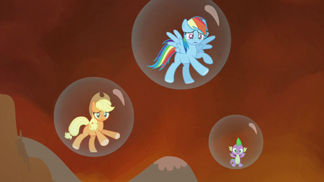 File:Applejack, Rainbow and Spike trapped in their bubble prisons S4E26.png
