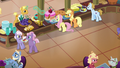 Applejack and Fluttershy in the resort cafeteria S6E20.png