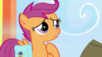 Scootaloo pointing at herself S7E7