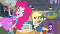 Applejack, Pinkie, and Twilight in the gym EG.png