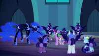 Nightmare Moon laughs at Spike's answer S5E26