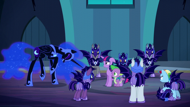 File:Nightmare Moon laughs at Spike's answer S5E26.png