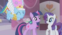 Rainbow Dash cuddles a Parasprite S01E10