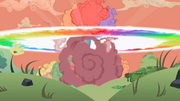 Rainbow Dash demolishing barn explosion cloud S2E3