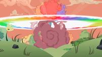 Rainbow Dash demolishing barn explosion cloud S2E3