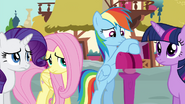 Rarity, Fluttershy and Rainbow afraid to talk to Pinkie S4E18