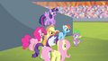 Mane 6 commending Spike S4E24.png