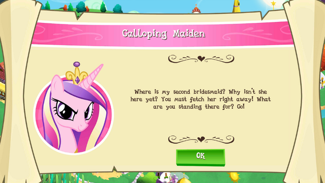 """File:Mobile game Princess Cadance's """"Galloping Maiden"""" task.png"""