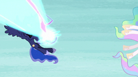 Nightmare Moon's magic shoots between Celestia and Luna S7E10