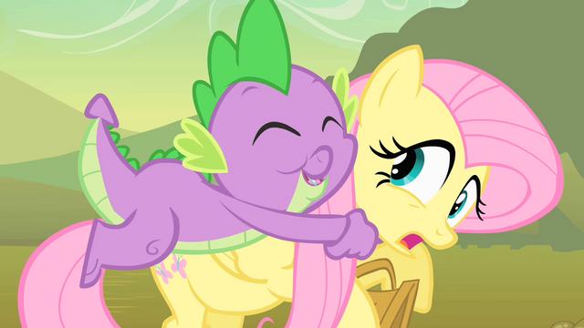 File:Spike hugging Fluttershy S1E15.png