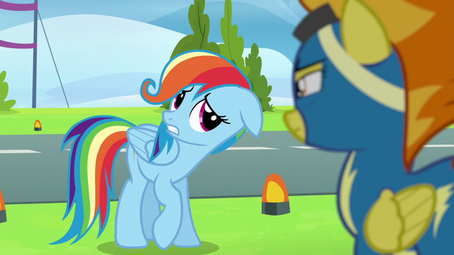 File:Rainbow Dash acting like Fluttershy S6E7.png