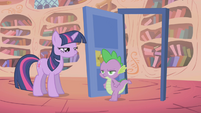 Spike walks through the door he just closed S1E06
