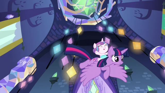File:Twilight and Flurry fly down to Shining and Cadance S7E3.png