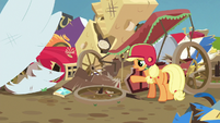 Applejack lamenting her wrecked cart S6E14
