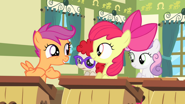 "File:Scootaloo ""maybe it's us!"" S4E05.png"