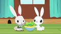 Angel sharing salad with bunny lawn gnome S6E11.png