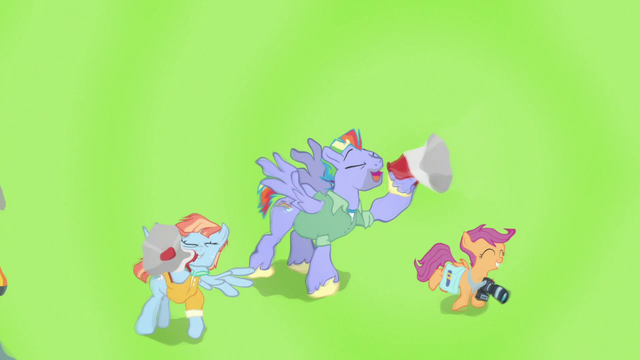 File:Bow and Windy cheer for Rainbow through bullhorns S7E7.png
