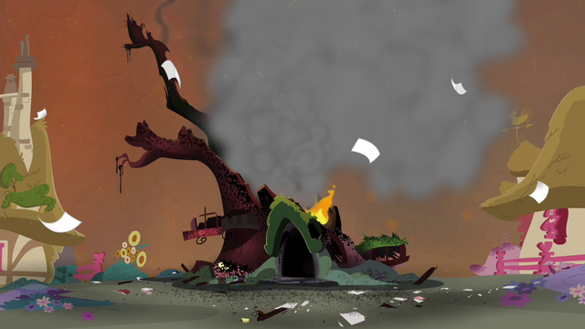 File:Golden Oak Library destroyed S4E26.png
