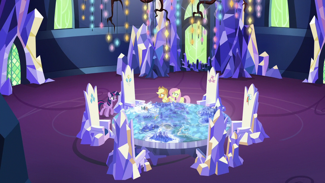 File:Twilight, Applejack, and Fluttershy around the Cutie Map S6E20.png