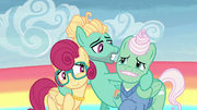 Zephyr puts his hooves around his parents S6E11.png