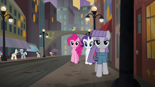 File:Pinkie, Rarity, and Maud wander through Manehattan at sunset S6E3.png