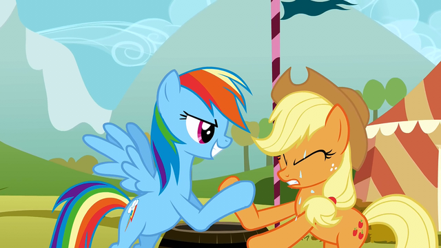 File:Rainbow Dash and Applejack in a hoof wrestling competition S01E13.png