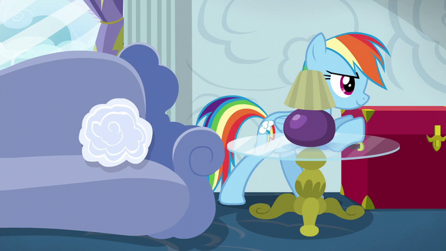 File:Rainbow Dash pushing a red trunk S6E14.png