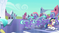 Shining Armor and royal guards dispersing S6E16