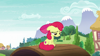 Apple Bloom moping on a bridge S6E4