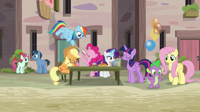 File:Mane Six and Spike enjoying the Sunset Festival S6E26.png
