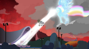 Rainbooms alicorn shooting laser beam onto the Dazzlings EG2