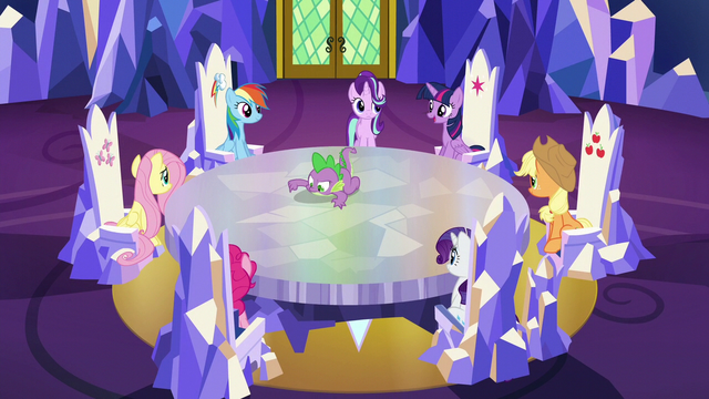 File:Twilight and friends assembled in the throne room S6E12.png