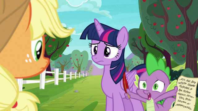"""File:Spike """"doesn't sound like Rarity or Pinkie Pie"""" S6E22.png"""