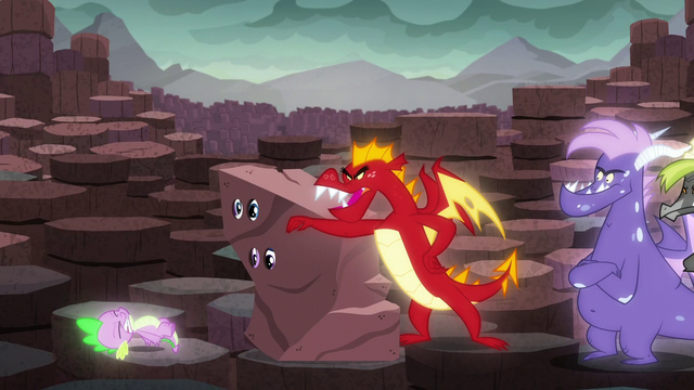 """File:Garble pushes Spike from the """"rock"""" S6E5.png"""