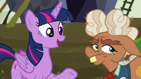 Ma Hooffield rolls her eyes as Twilight speaks S5E23