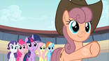 Pony pointing in the direction Applejack went S2E14