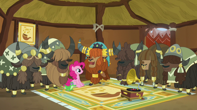 File:Pinkie, Prince Rutherford, and yaks in yak music hut.png