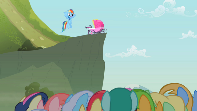 File:Rainbow Dash waving to the crowd S2E08.png