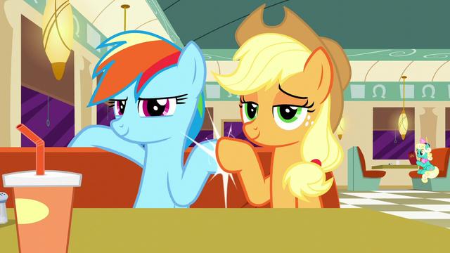 File:Rainbow and Applejack hoof-bump S6E9.png