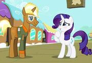 Rarity and Trenderhoof at train station promotional S4E13