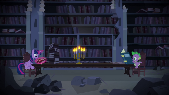 File:Twilight Sparkle and Spike researching S4E03.png