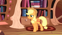 Applejack walks up to Twilight Sparkle S3E9