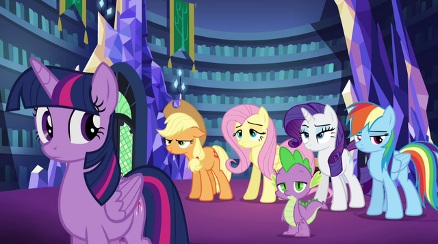 File:Pinkie's friends unamused by her antics EG2.png